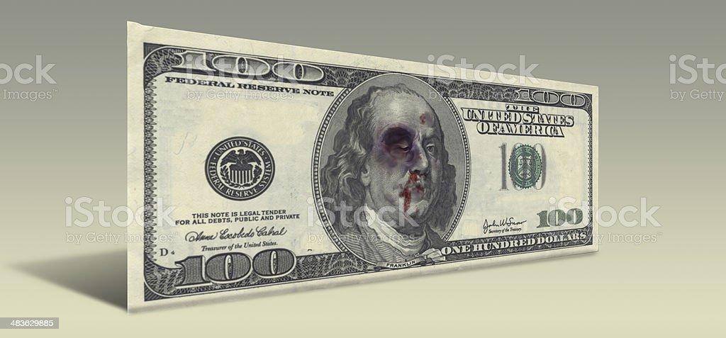 Beaten Ben Franklin stock photo