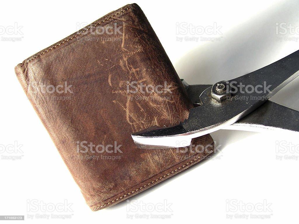 Beaten wallet stock photo