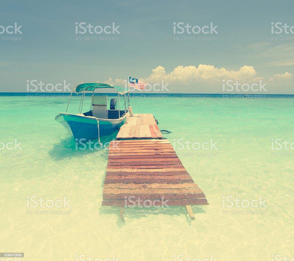Beatiful lang tengah island in Malaysia, retro classic filter stock photo