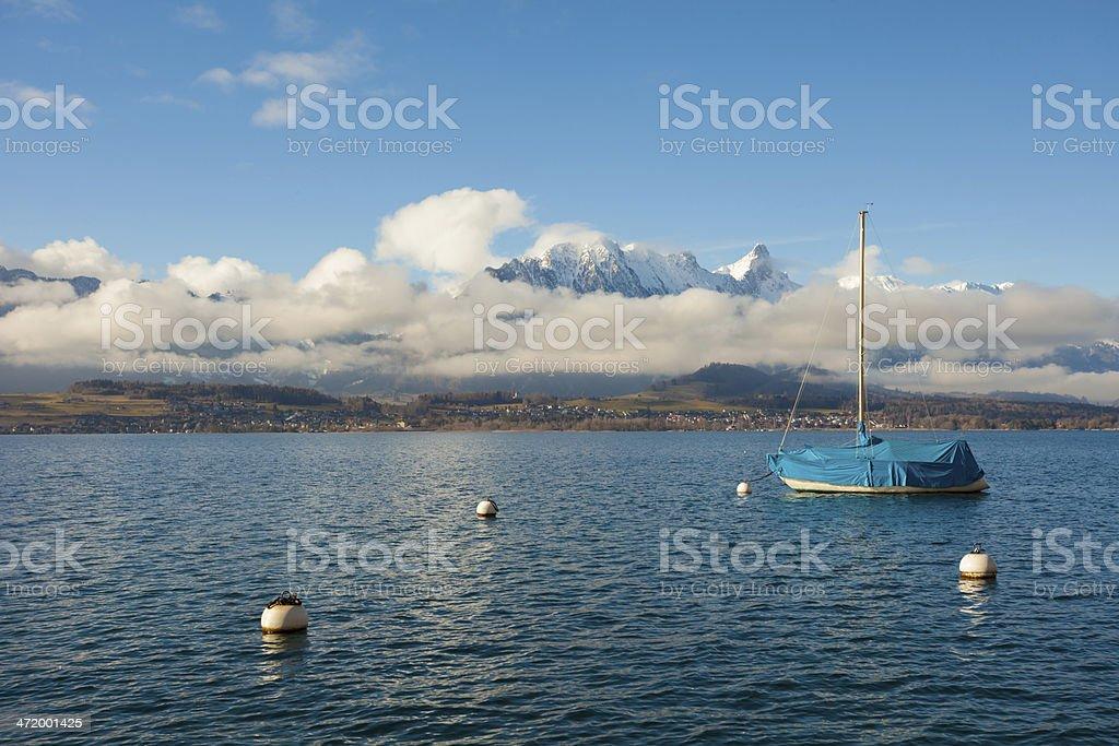 beatiful mountain peak sunset in Swiss Alps royalty-free stock photo
