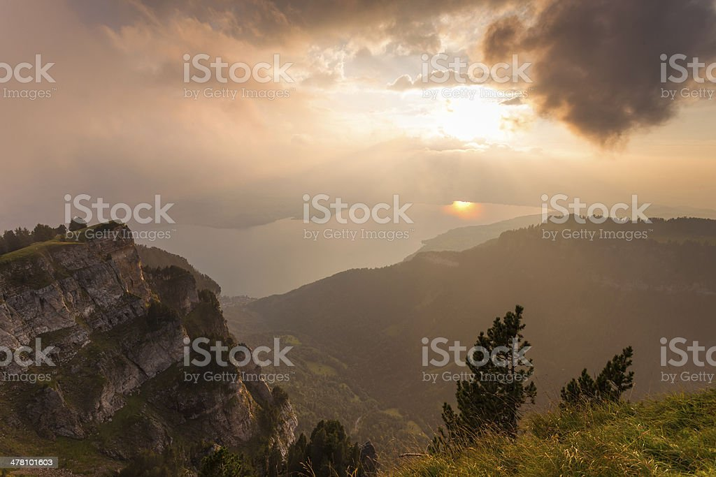 beatiful mountain peak sunset in Swiss Alps royalty-free stock photo