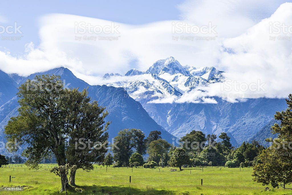 Beatiful mountains with clouds stock photo