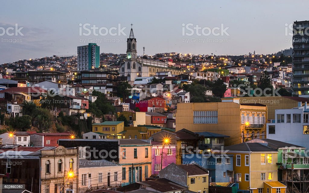 Beatiful night aerial view of Valparaiso in Chile stock photo