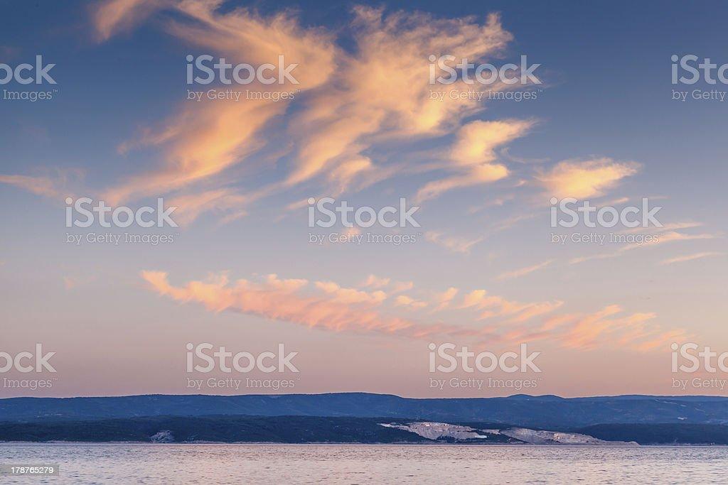 Beatiful Sunset on Makarska Riviera, Dalmatia, Croatia royalty-free stock photo