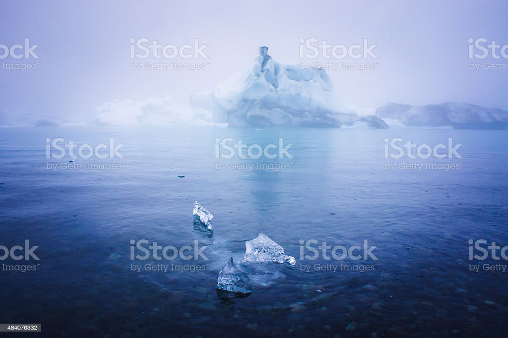 Beatiful vibrant picture of icelandic glacier and glacier lagoon with stock photo
