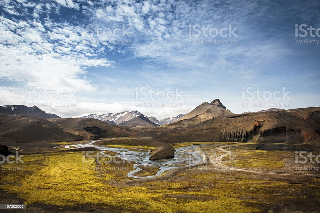 beatiful view of valley nd river in iceland stock photo