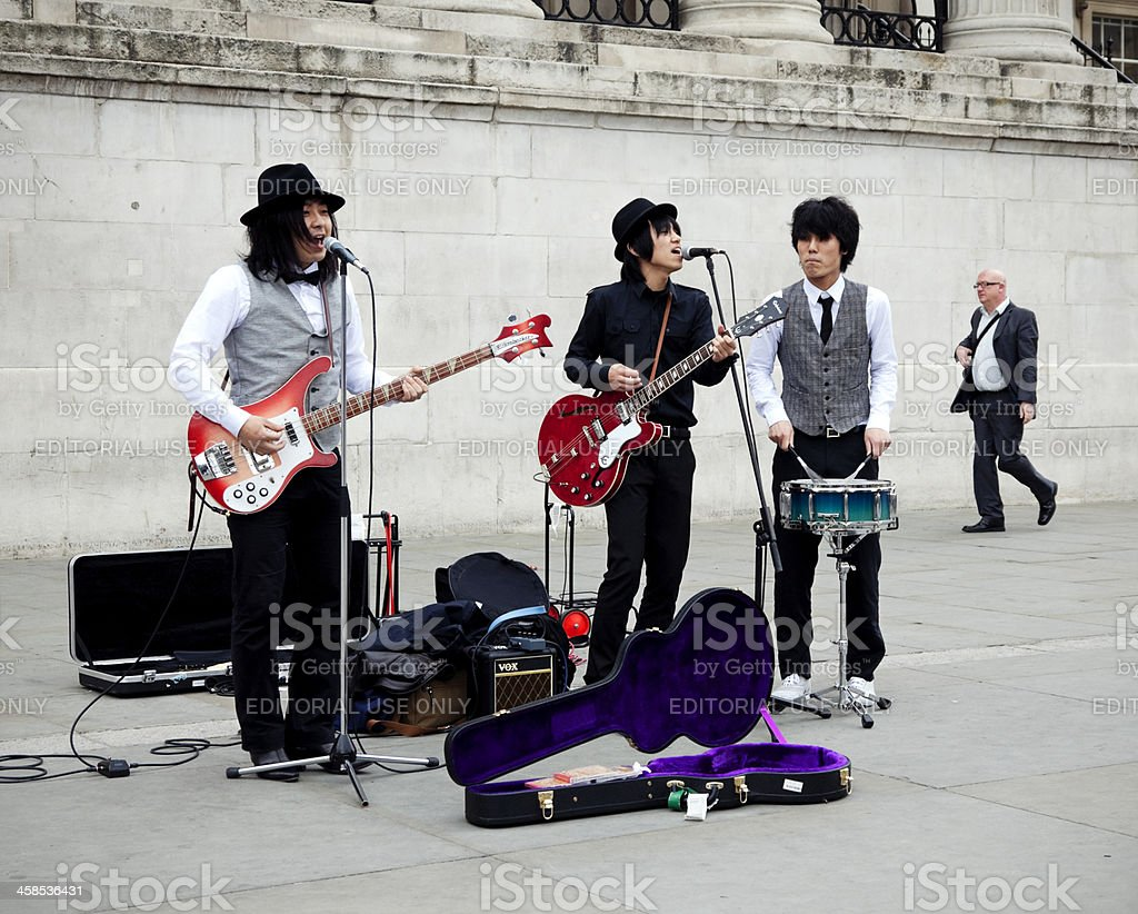 Beatles street musicians outside the National Gallery, London stock photo