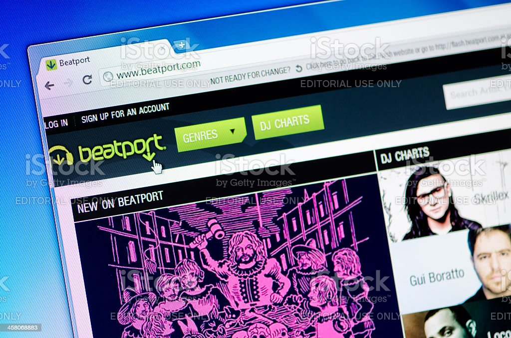 Beatport webpage on the browser stock photo