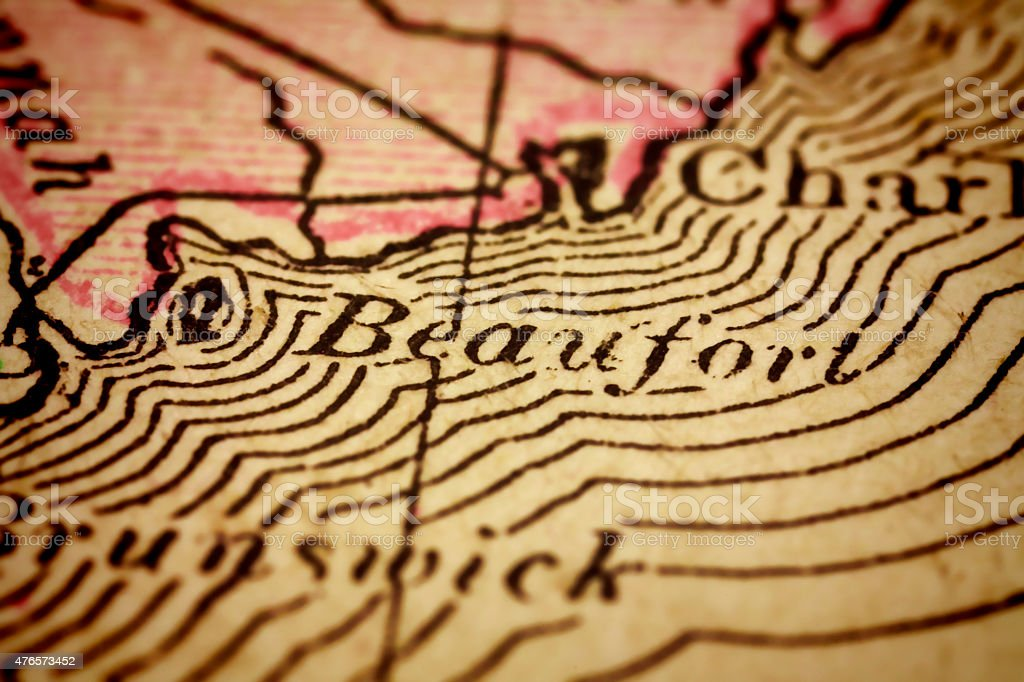 Beaufort, South Carolina on an Antique map stock photo