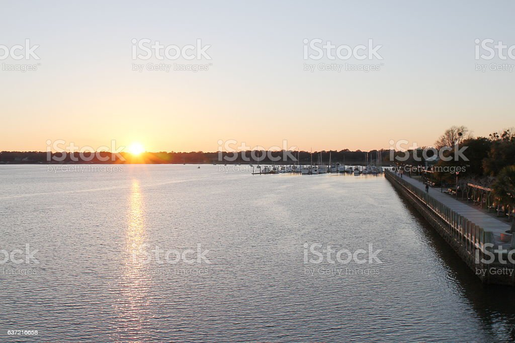 Beaufort waterfront at sunset - SC - USA stock photo
