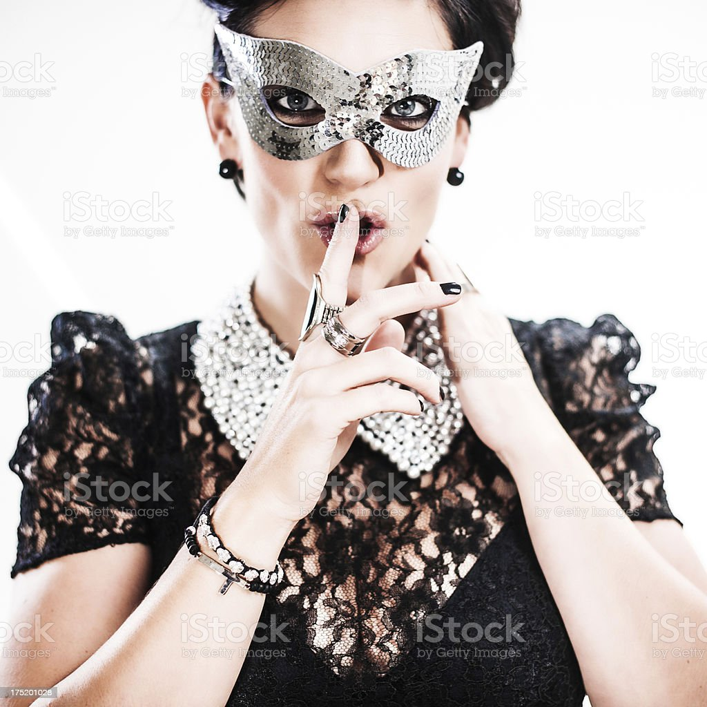 Beauitful woman hushing royalty-free stock photo