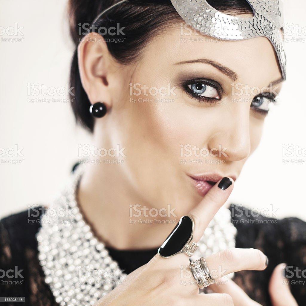 Beauitful woman hushing royalty-free stock photo