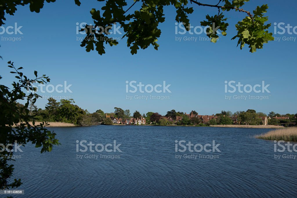 Beaulieu Pond and Village, New Forest National Park, Hampshire stock photo