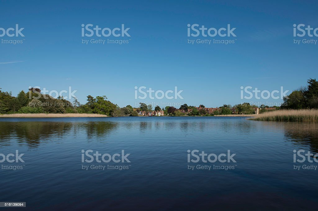 Beaulieu Pond and Village, New Forest National Park stock photo