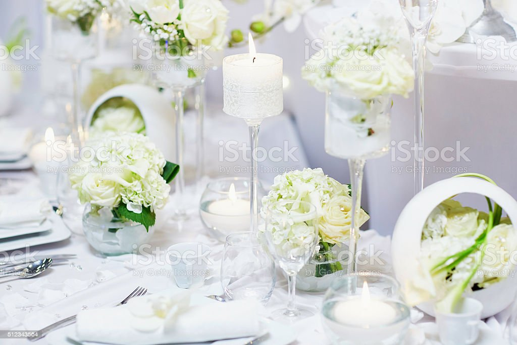 Beautidul table set for wedding reception stock photo