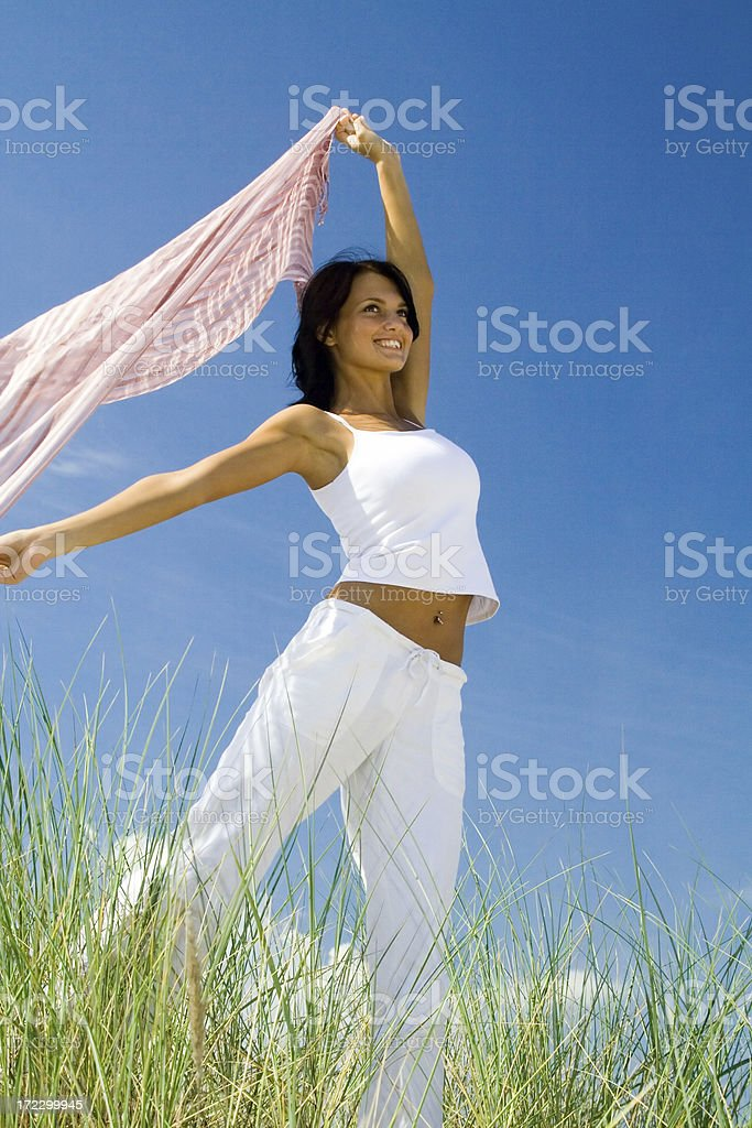 Beautifil smiled girl and the wind royalty-free stock photo
