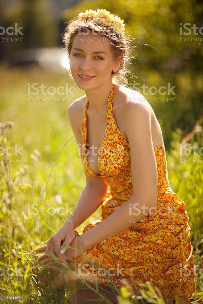 beautifu girl in the park stock photo