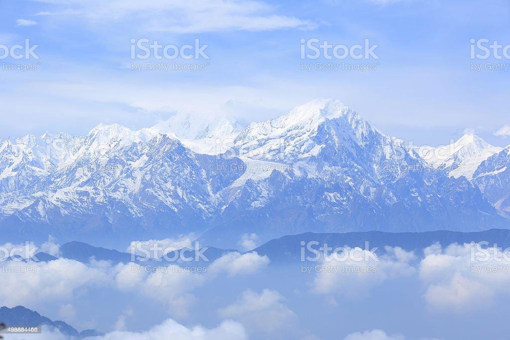 beautifu snow mountain landscape stock photo