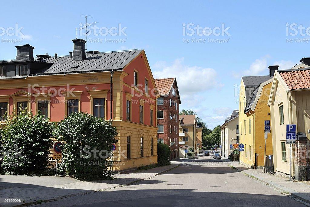 Beautifu street in Uppsala stock photo