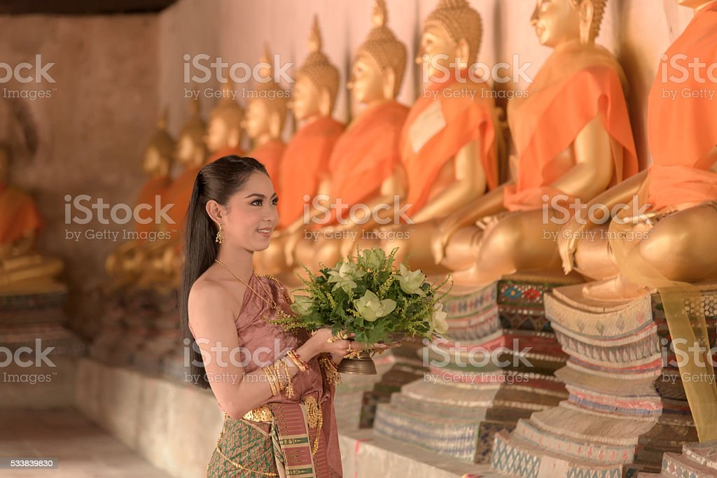 Beautifui girl in Thai traditional costume stock photo