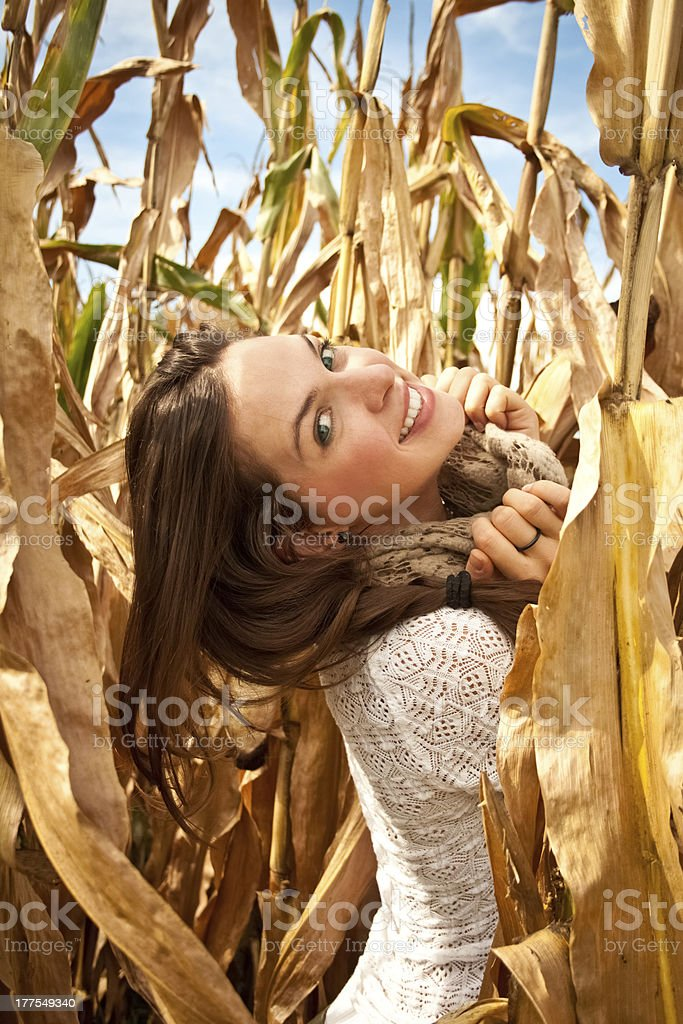 아름다운 키런 왜고너의 여자 함께 추절 가을맞이 royalty-free 스톡 사진