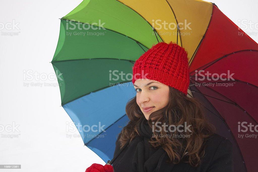 아름다운 키런 왜고너의 웃는 여자 따라 색상화 우산 royalty-free 스톡 사진