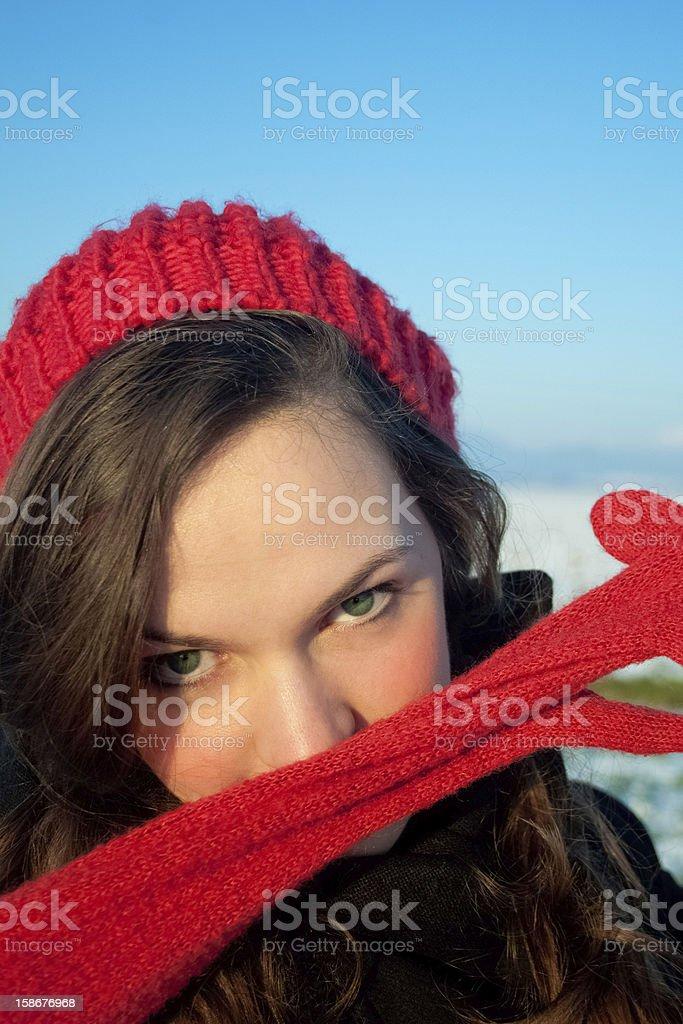 아름다운 키런 왜고너의 여자 red hat, 장갑 royalty-free 스톡 사진
