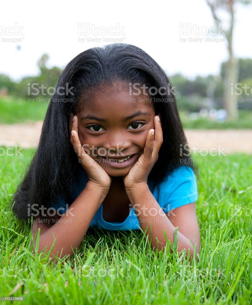 Beautiful 5 year old girl stock photo
