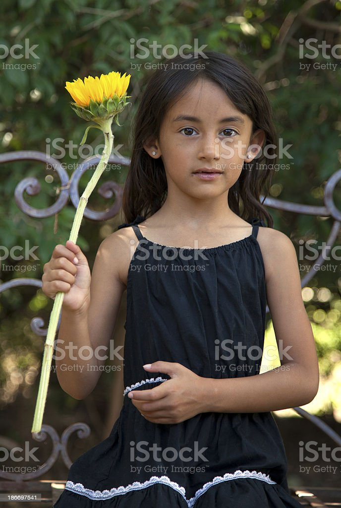 Beautiful 6 year old girl outside royalty-free stock photo