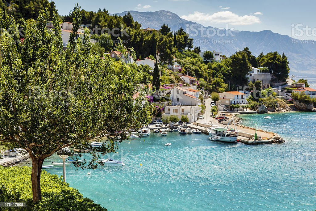 Beautiful Adriatic Bay and the Village near Split, Croatia stock photo