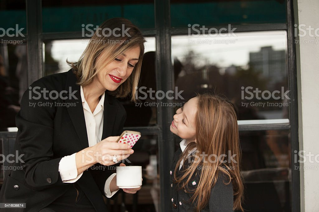 Beautiful Adult Business and Daughter stock photo