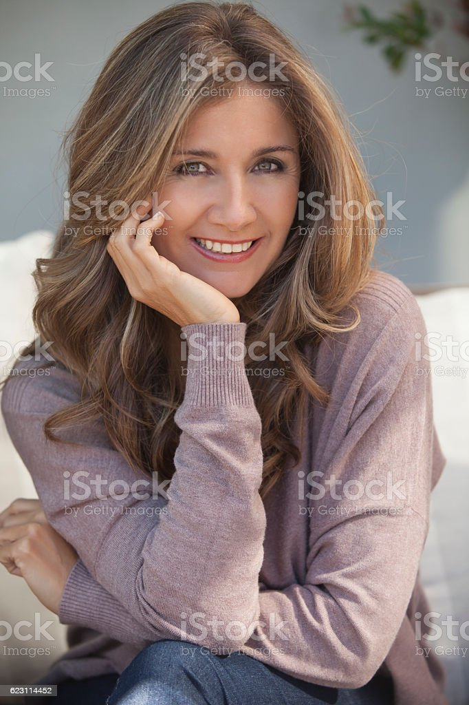 Beautiful adult woman portrait stock photo
