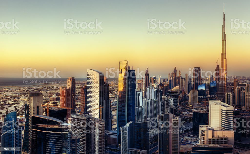 Beautiful aerial cityscape with modern architecture at sunset. stock photo