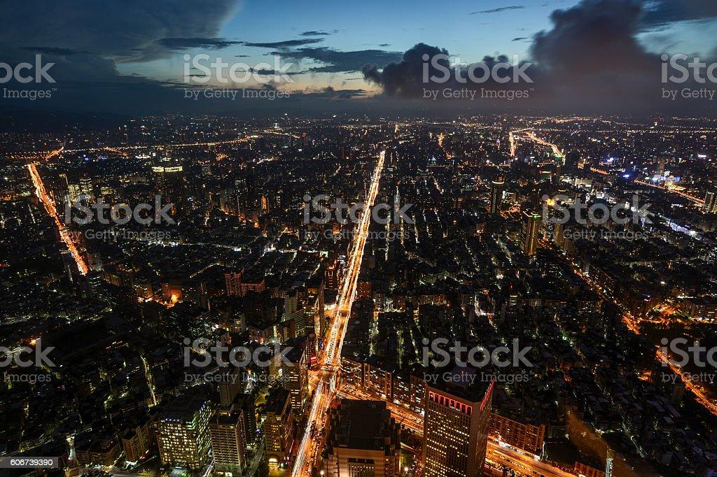 Beautiful aerial night view of Taipei, Taiwan and Xinyi Road stock photo
