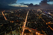 Beautiful aerial night view of Taipei, Taiwan and Xinyi Road
