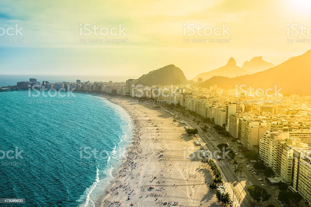 Beautiful aerial of famous Copacabana Beach, Rio de Janeiro stock photo