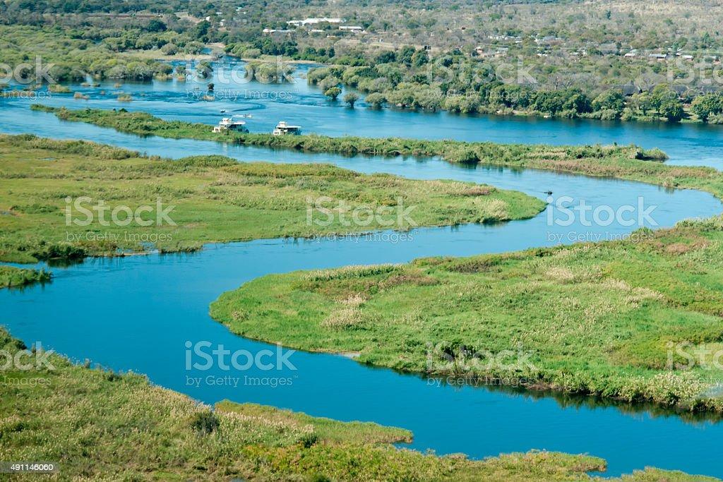 Beautiful aerial view of Chobe River stock photo