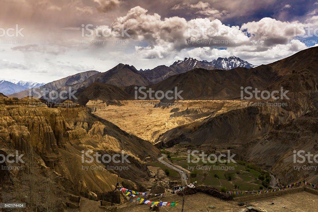 Beautiful aerial view of moonland , Ladakh,Jammu and Kashmir, India stock photo