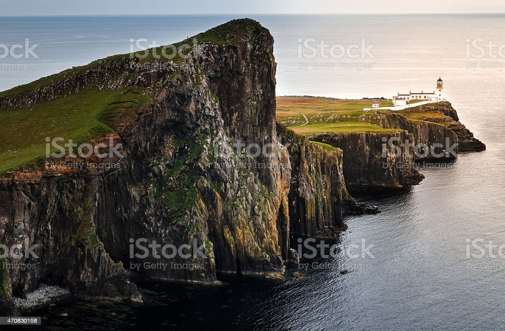 A beautiful aerial view of Neist Point Lighthouse stock photo