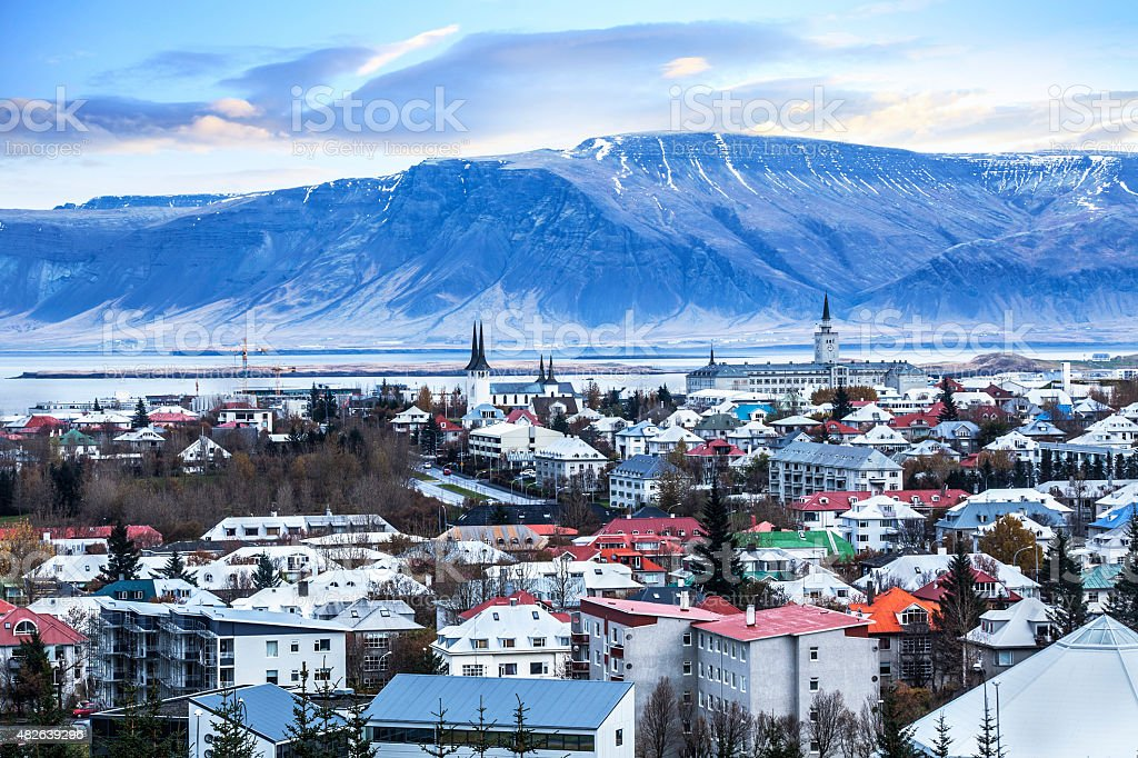 Beautiful aerial view of Reykjavik city, Iceland. stock photo
