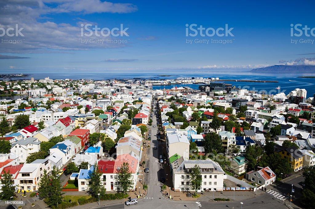 A beautiful aerial view of Reykjavik stock photo