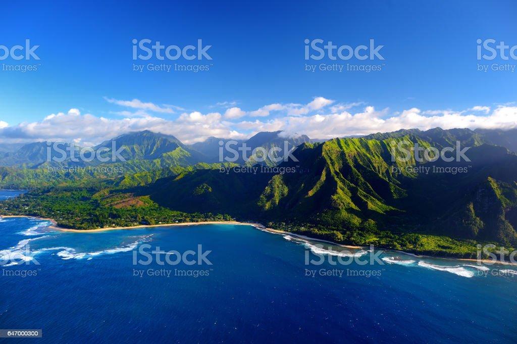 Beautiful aerial view of spectacular Na Pali coast, Kauai stock photo