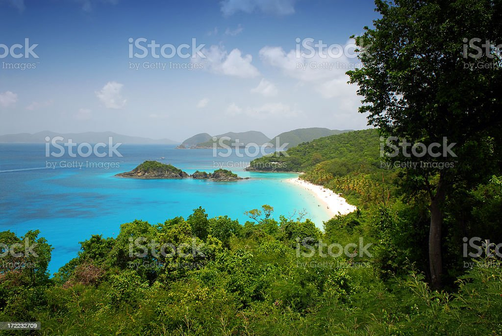Beautiful aerial view of Trunk Bay beach  stock photo