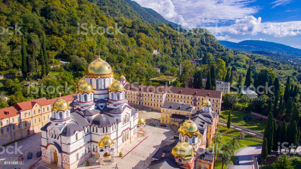 Beautiful aerial view on New Athos monastery stock photo
