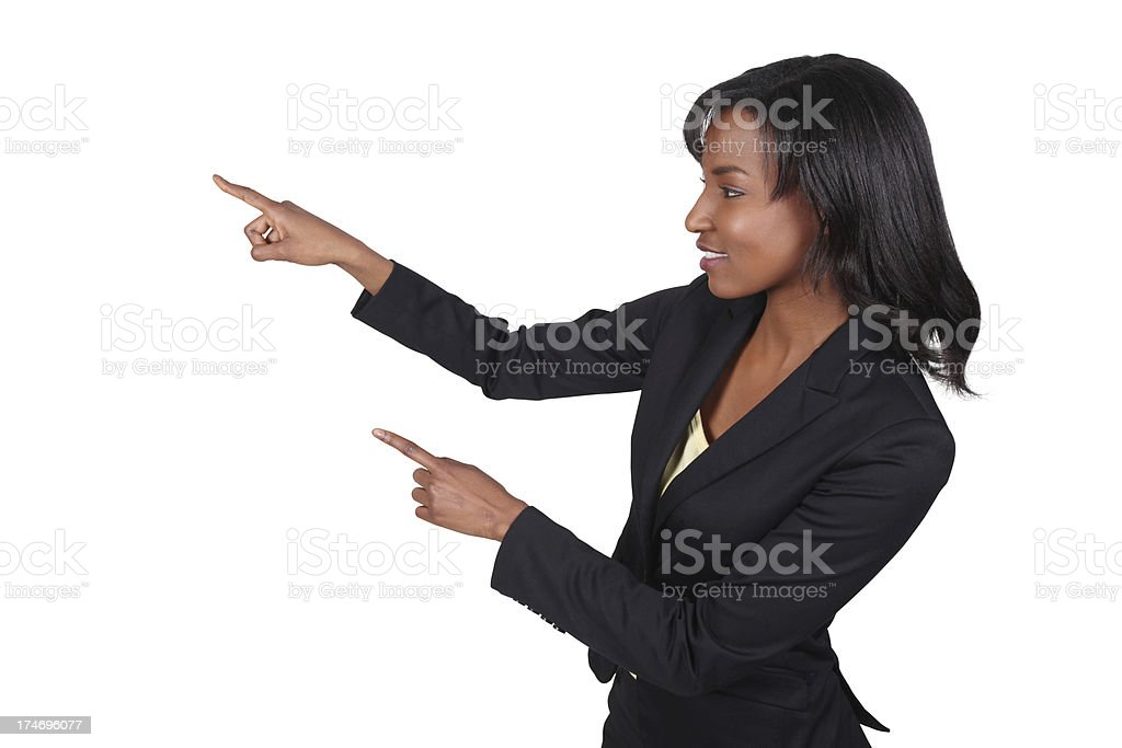 Beautiful African American Business Woman Pointing stock photo