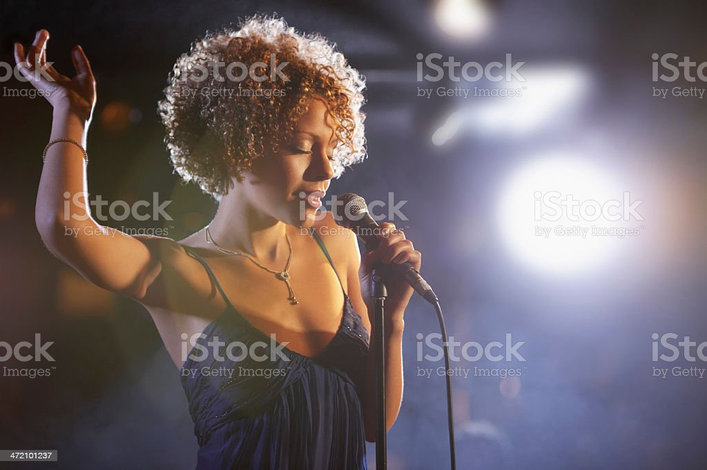 Beautiful African American female jazz singer stock photo