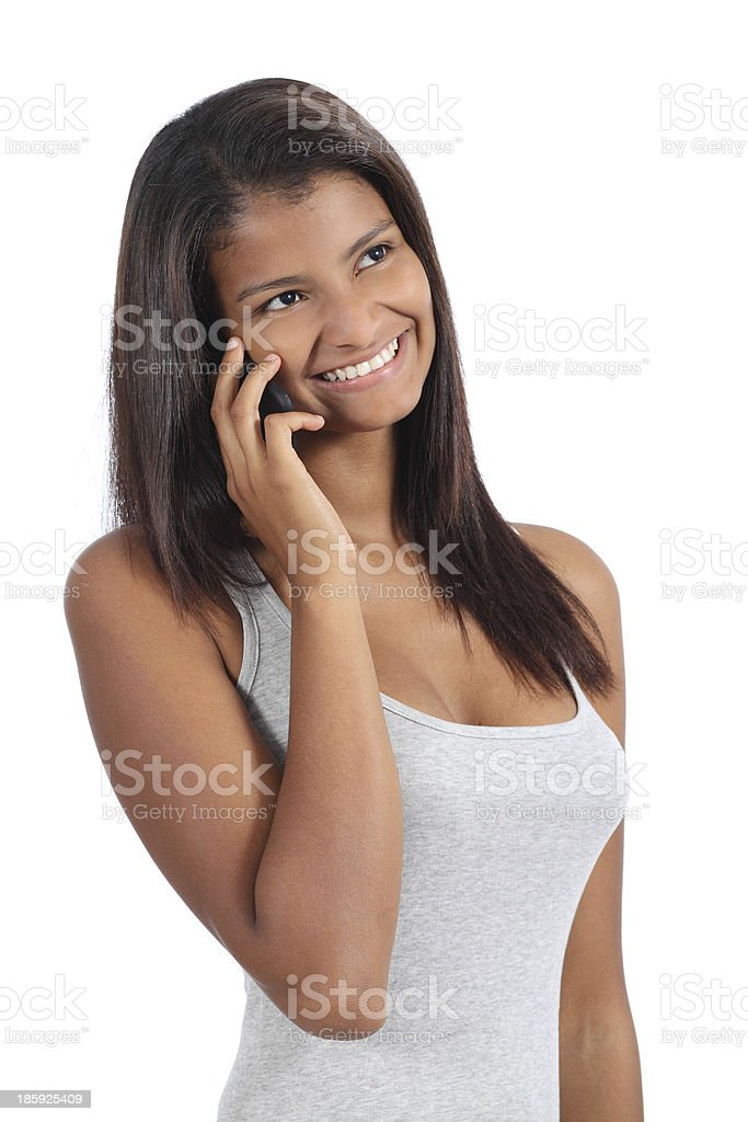 Beautiful african american girl on the phone royalty-free stock photo