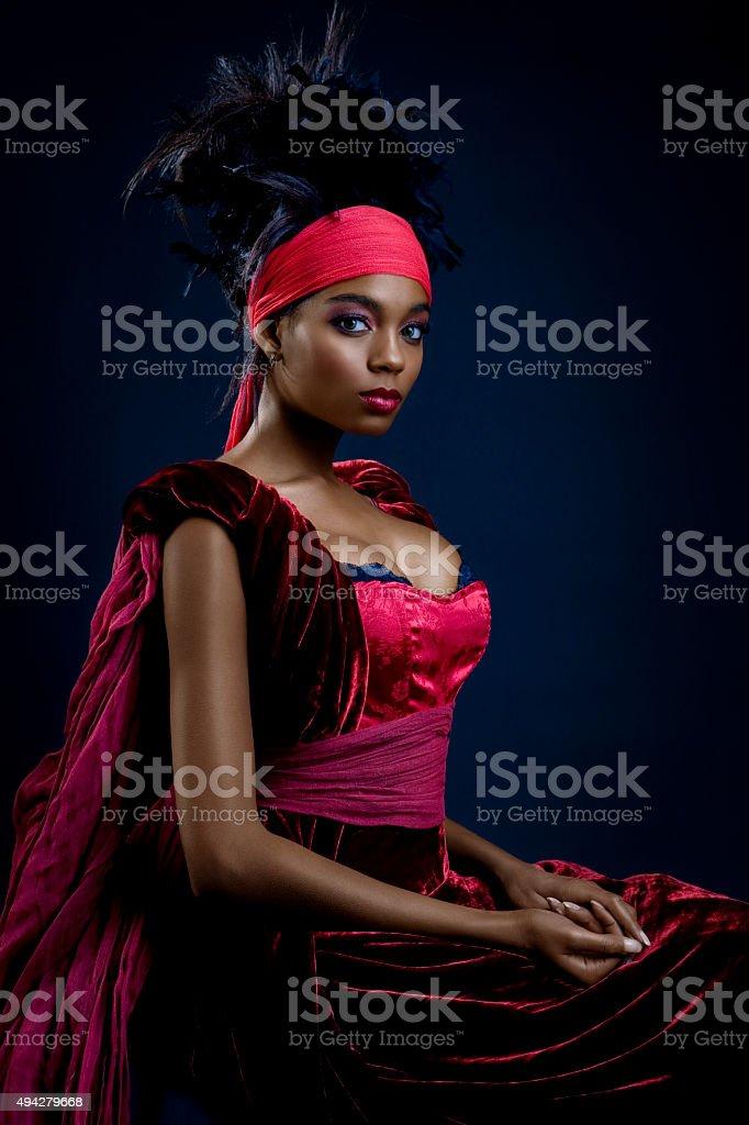 Beautiful African American Queen stock photo
