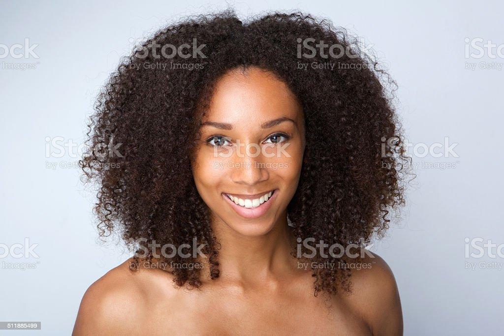 Beautiful african american woman smiling stock photo