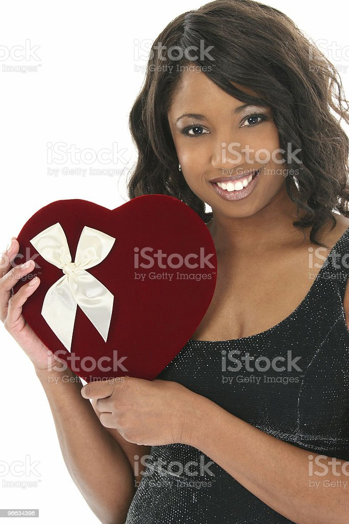Beautiful African American Woman with Velvet Heart Candy Box royalty-free stock photo
